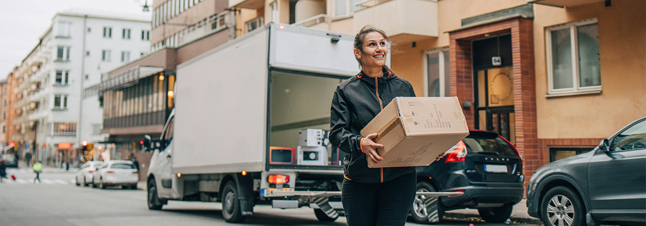A women delivering package